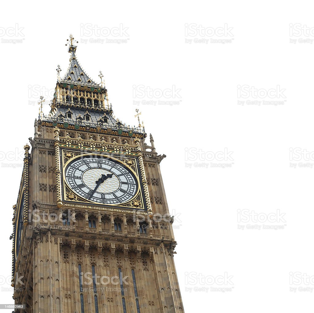 Big Ben Clock Tower Isolated royalty-free stock photo