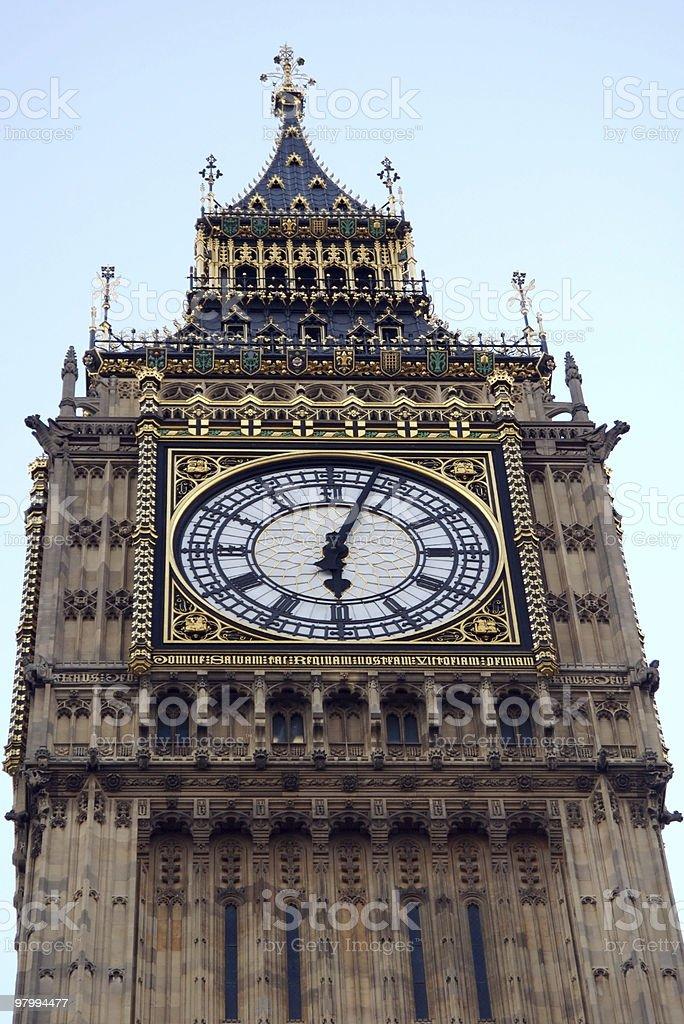 Big Ben clock tower, London, at 6 pm stock photo