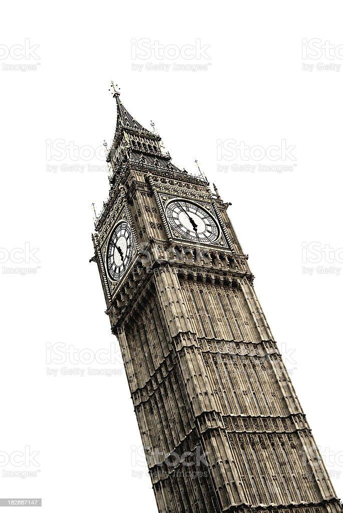Big Ben clock tower, London, high key, white background stock photo
