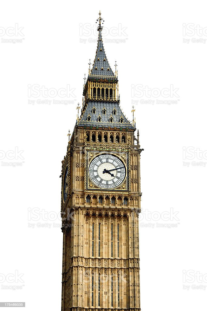 Big Ben Clock Tower London Isolated on White royalty-free stock photo