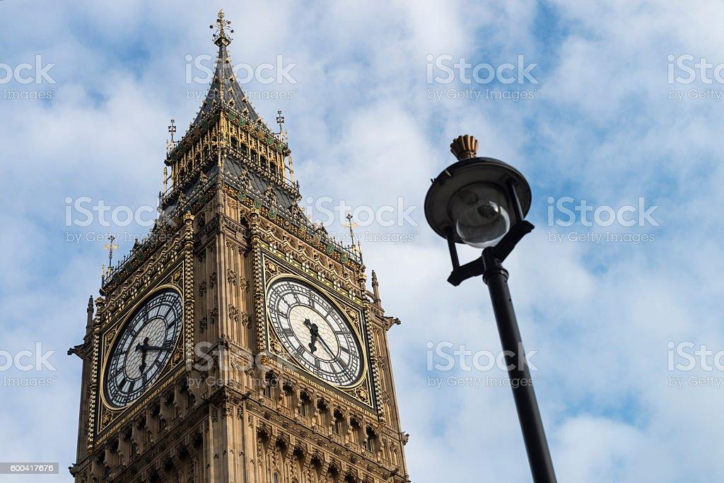 Big Ben Clock with Street Lamp stock photo
