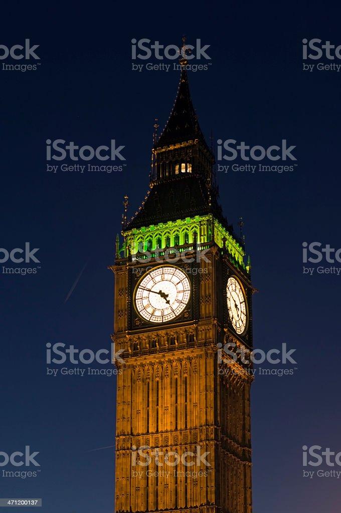 Big Ben clocktower at dusk, London royalty-free stock photo