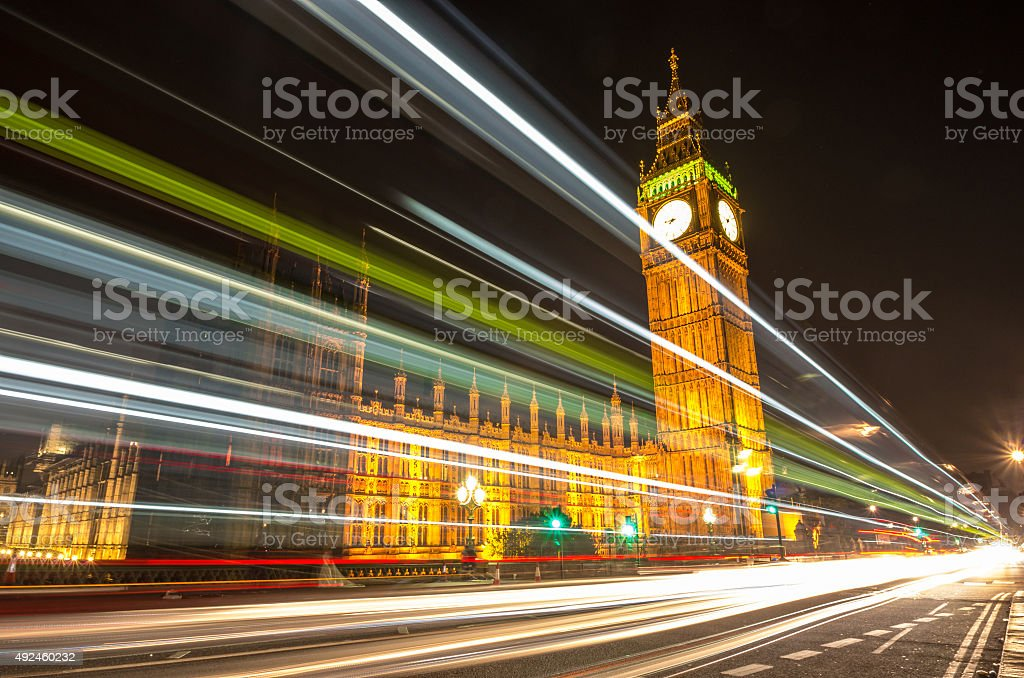 Big Ben during the night in London stock photo