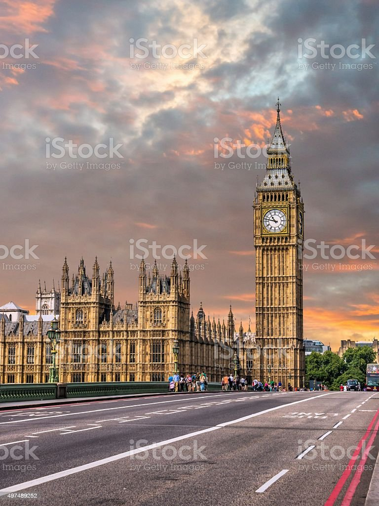 Big Ben from Westminster bridge in London in sunset stock photo