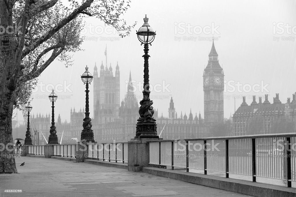 Big Ben & Houses of Parliament with rain. stock photo