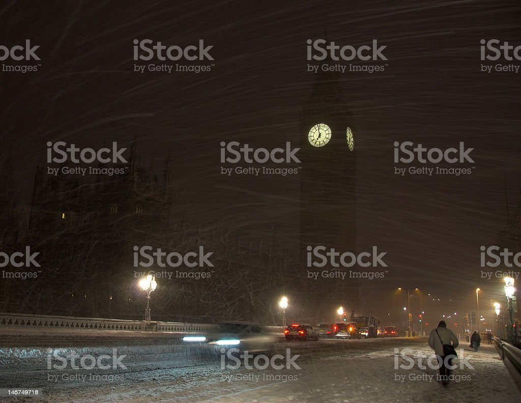 Big Ben in a rare Snow Blizzard royalty-free stock photo