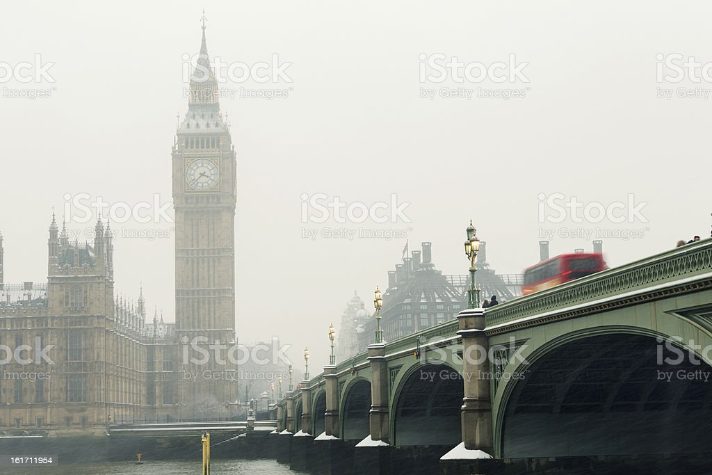 Big Ben in a snowstorm royalty-free stock photo