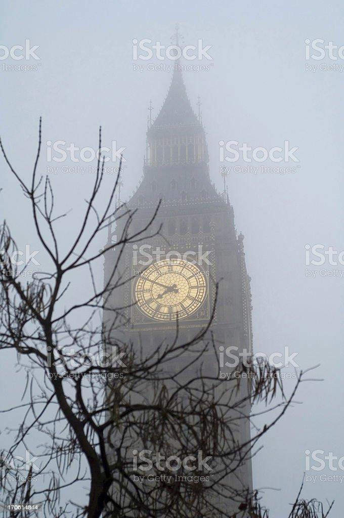 Big Ben in fog London royalty-free stock photo