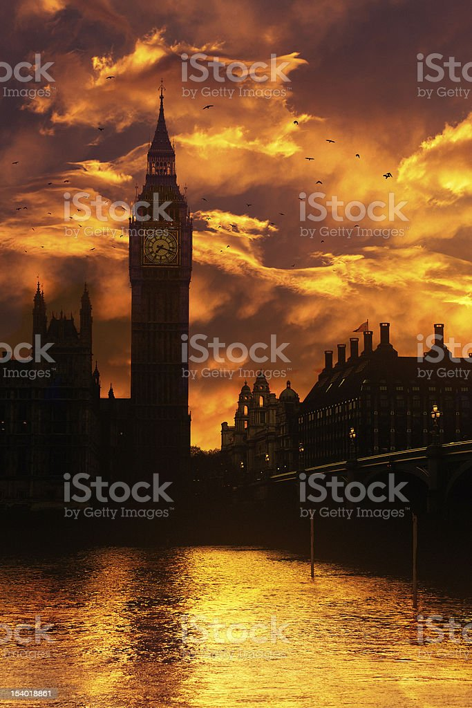 Big Ben in London at dusk royalty-free stock photo