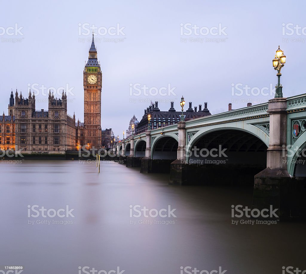Big Ben in London at nighttime royalty-free stock photo