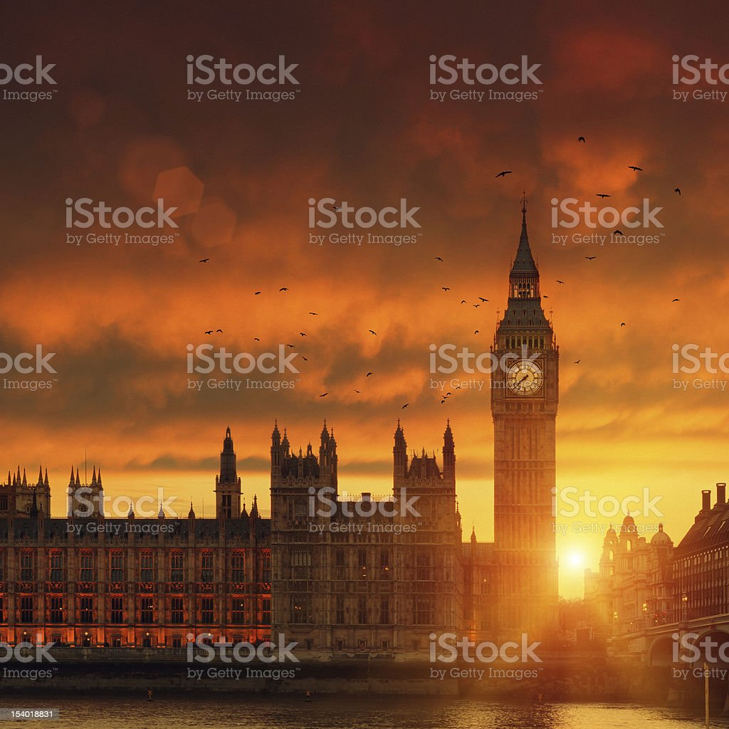 Big Ben in London at sunset royalty-free stock photo