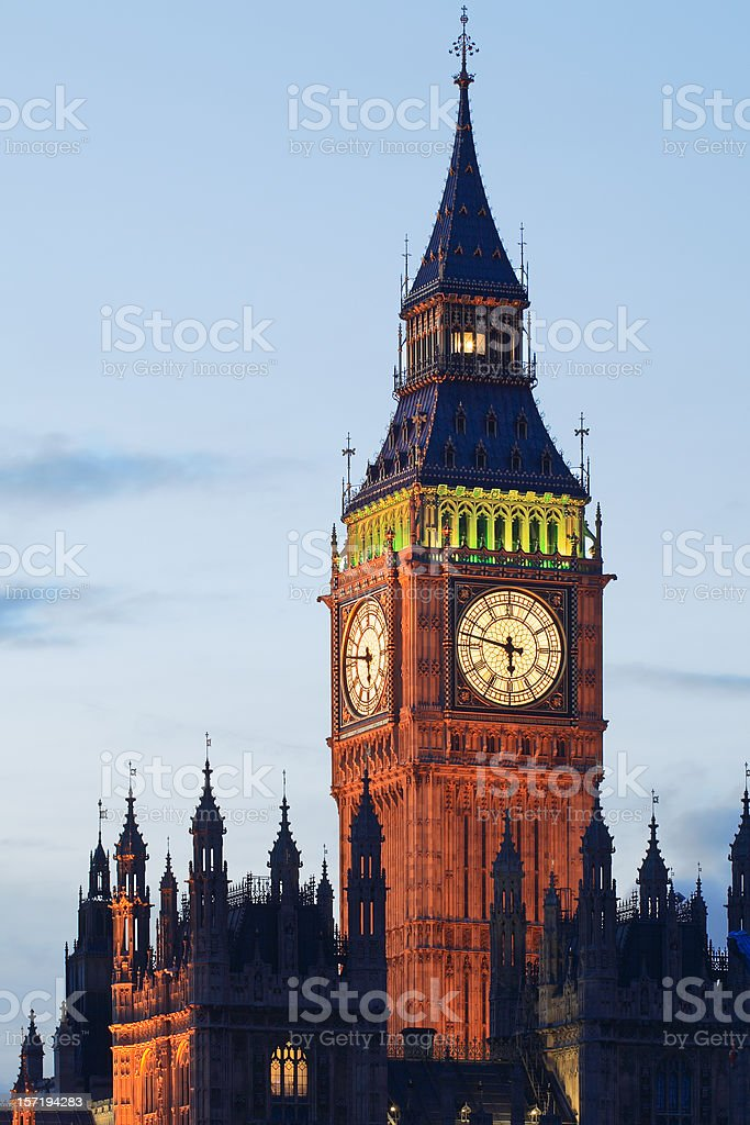 Big Ben in London lit up at dusk royalty-free stock photo