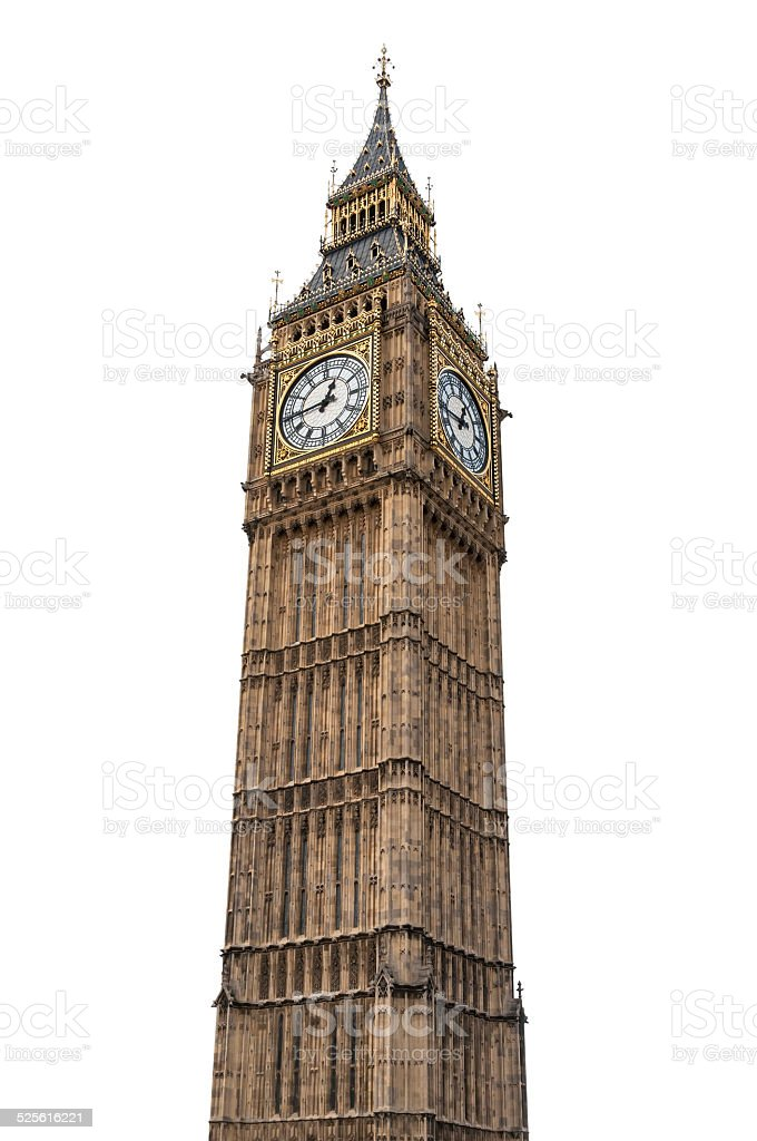 Big Ben in London on white background stock photo