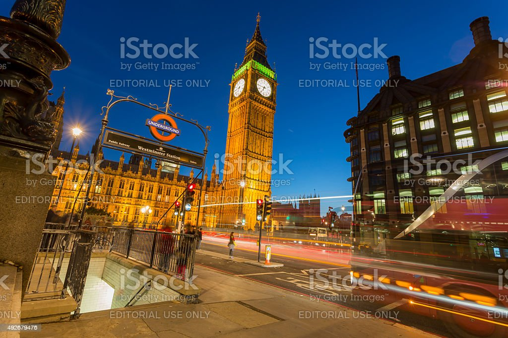 Big Ben in London Westminster at dusk stock photo