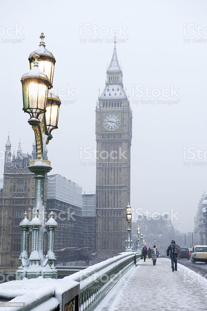 Big Ben in the snow royalty-free stock photo