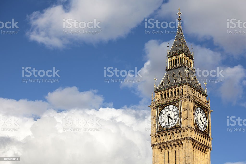 Big Ben isolated against a cloudy summer sky royalty-free stock photo