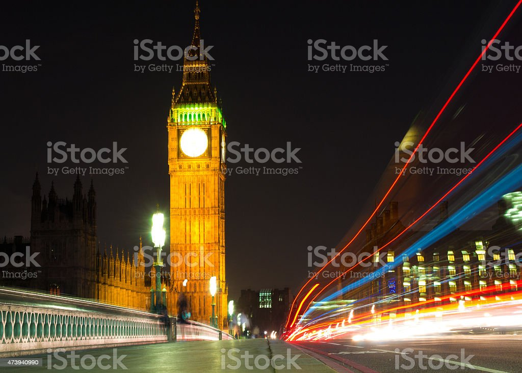 Big Ben & Light Trails stock photo