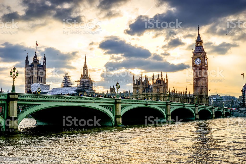 Big Ben London and River Thames at dusk stock photo