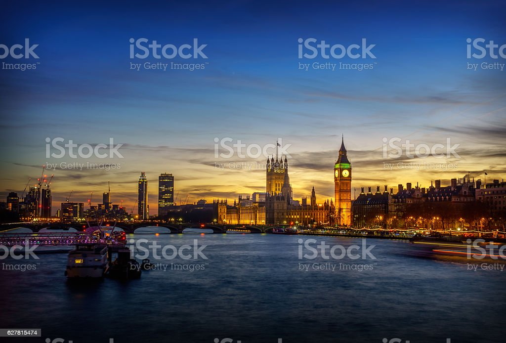 Big Ben London and River Thames at sunset stock photo