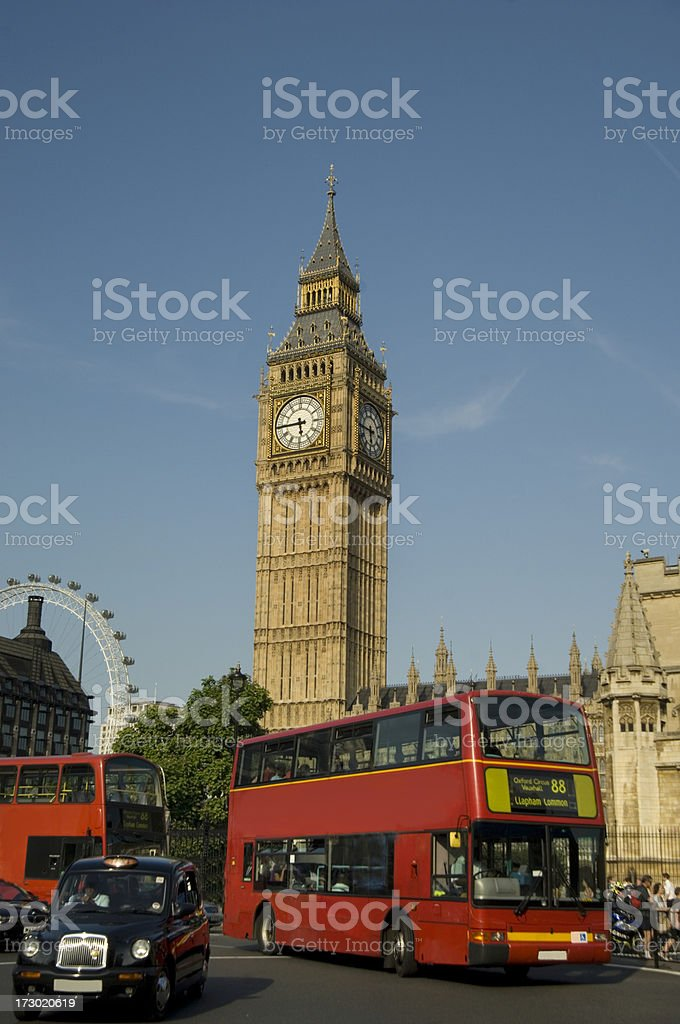 Big Ben London Bus stock photo