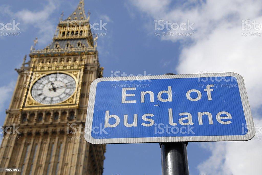 Big Ben London, End of bus lane sign. royalty-free stock photo