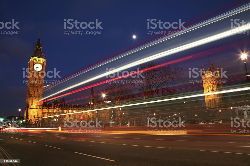 Big Ben London Houses of Parliament with Traffic royalty-free stock photo