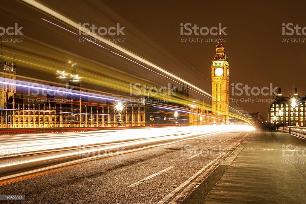 Big Ben Long Exposure & Light Trail royalty-free stock photo