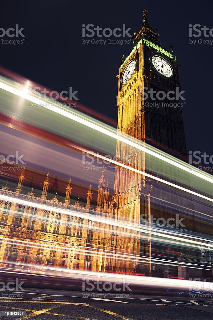 Big Ben night trails royalty-free stock photo