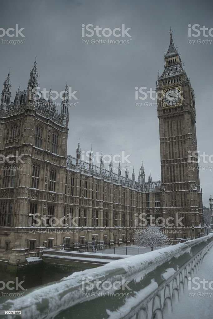 Big Ben on a snowy winter day royalty-free stock photo