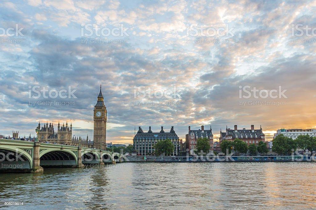 Big Ben, Portcullis House and  Westminster bridge. on sunset London stock photo