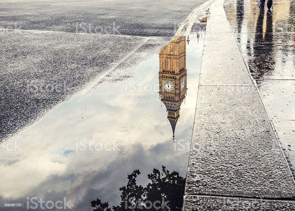 Big Ben reflection in a puddle in London, England United Kingdom stock photo