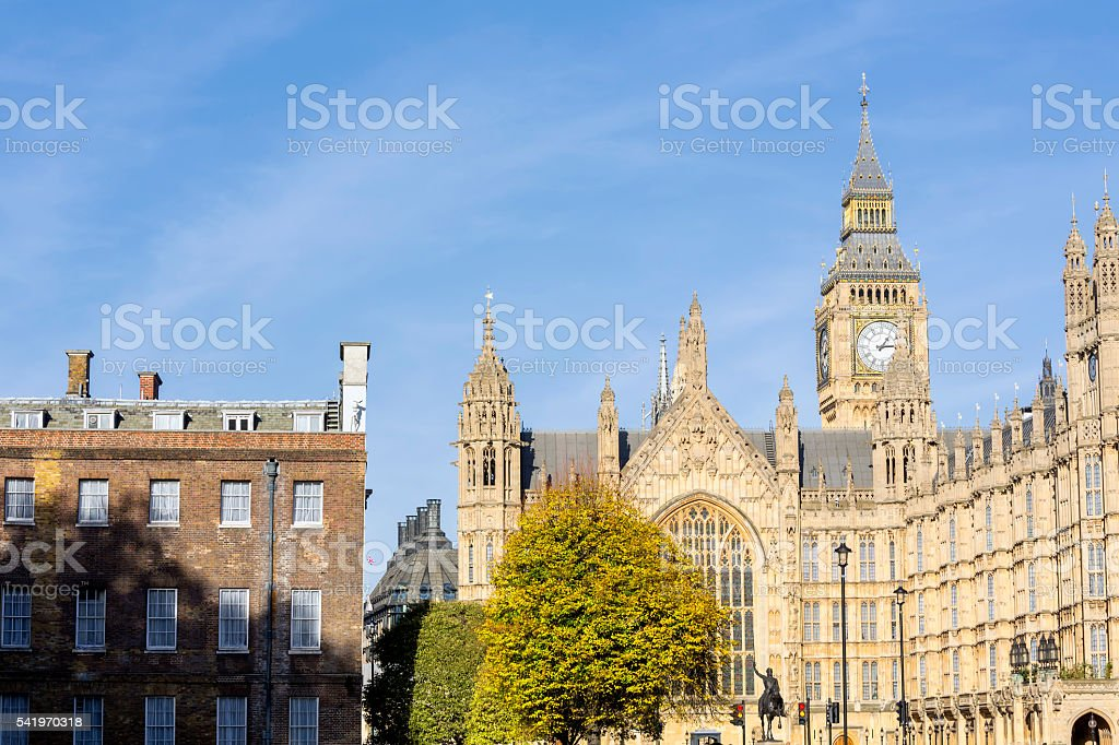 Big Ben seen from Abingdon St in London stock photo
