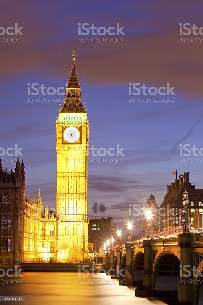 Big Ben sunset twilight royalty-free stock photo