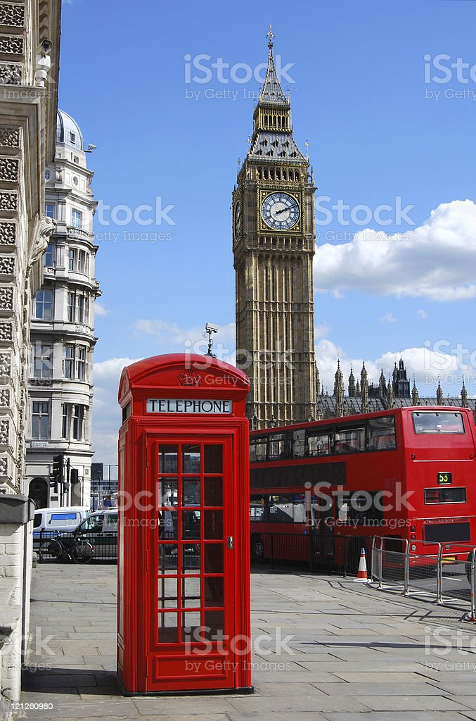 Big Ben, telephone box and double decker bus in London royalty-free stock photo