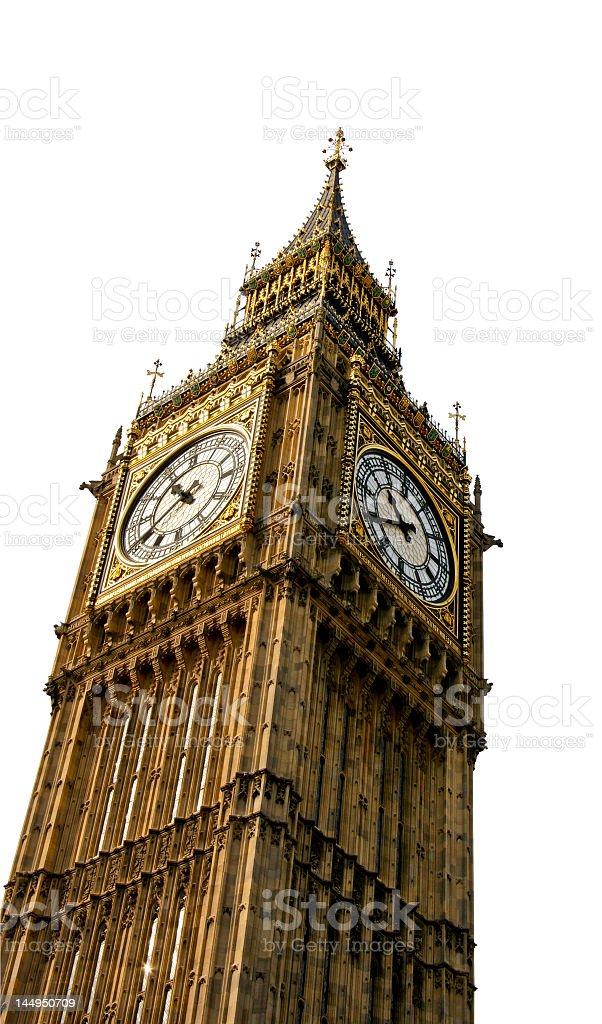 Big Ben that resides in London on a white background royalty-free stock photo