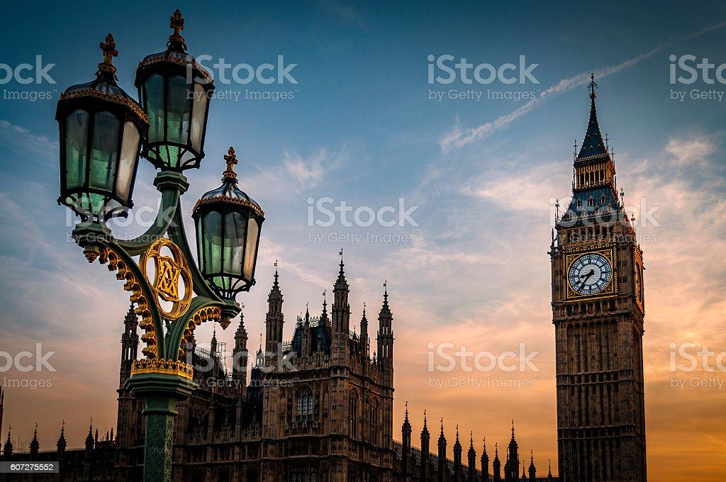 Big Ben, The Houses of Parliament and a lamppost stock photo