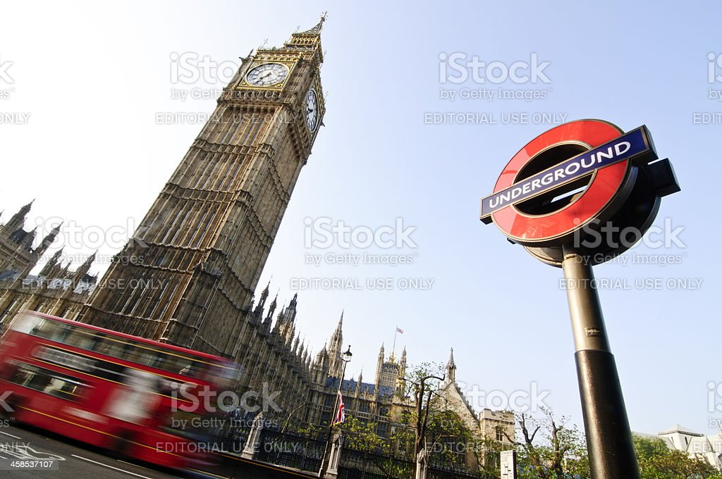 Big Ben, The Roundel and Double Decker Bus stock photo