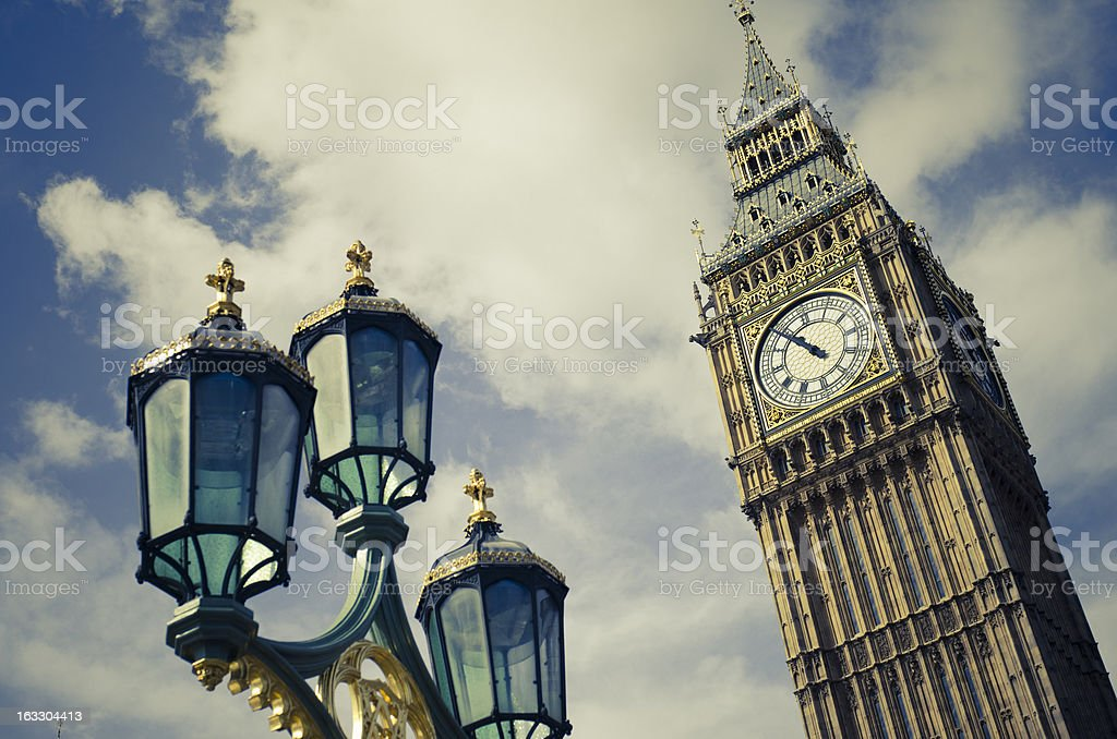 Big Ben tower and street lamps in London stock photo
