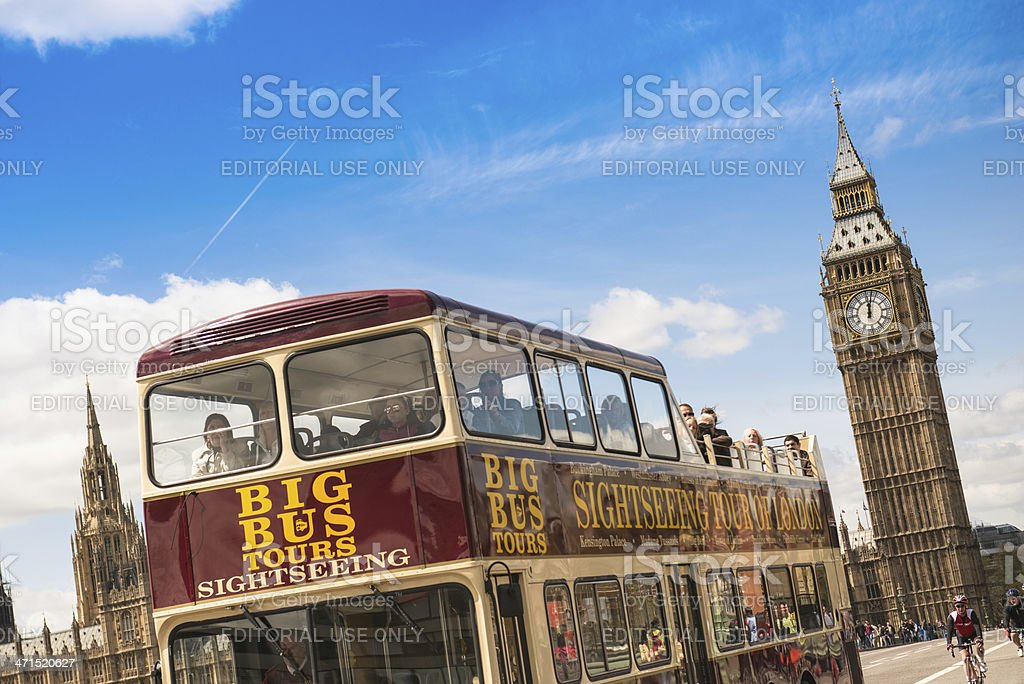 Big Ben tower and touristic bus in london royalty-free stock photo