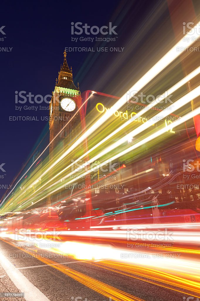 Big Ben Tower and traffic royalty-free stock photo