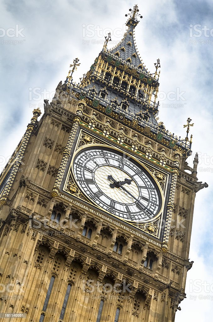 Big Ben Tower Close-up of the Clock royalty-free stock photo