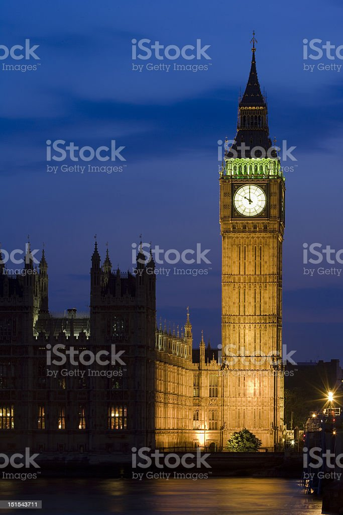 Big Ben Tower in Westminster at dusk, London, UK royalty-free stock photo