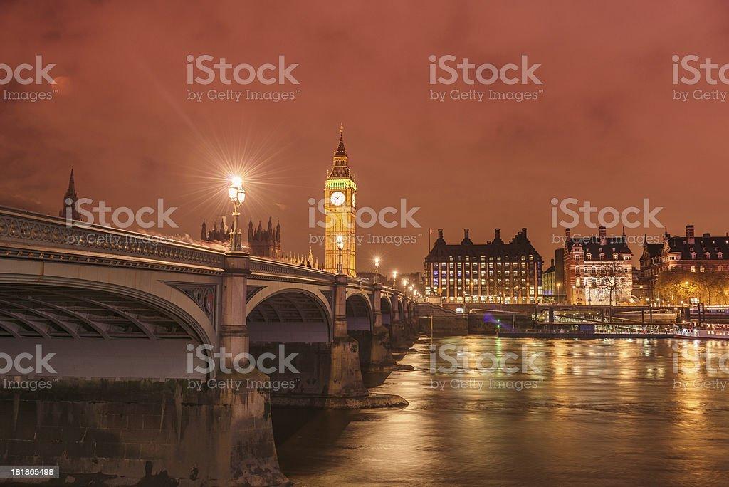 Big Ben tower on Westmister bridge royalty-free stock photo