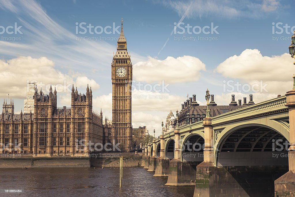 Big Ben tower on Westmister stock photo