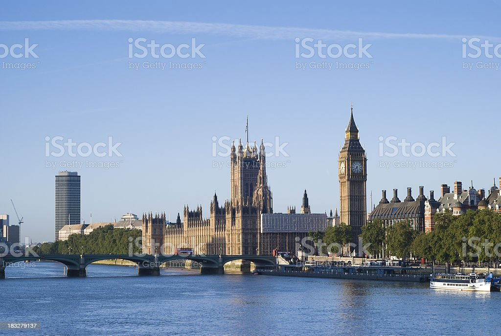 Big Ben, Westminster and Millbank Tower, London stock photo