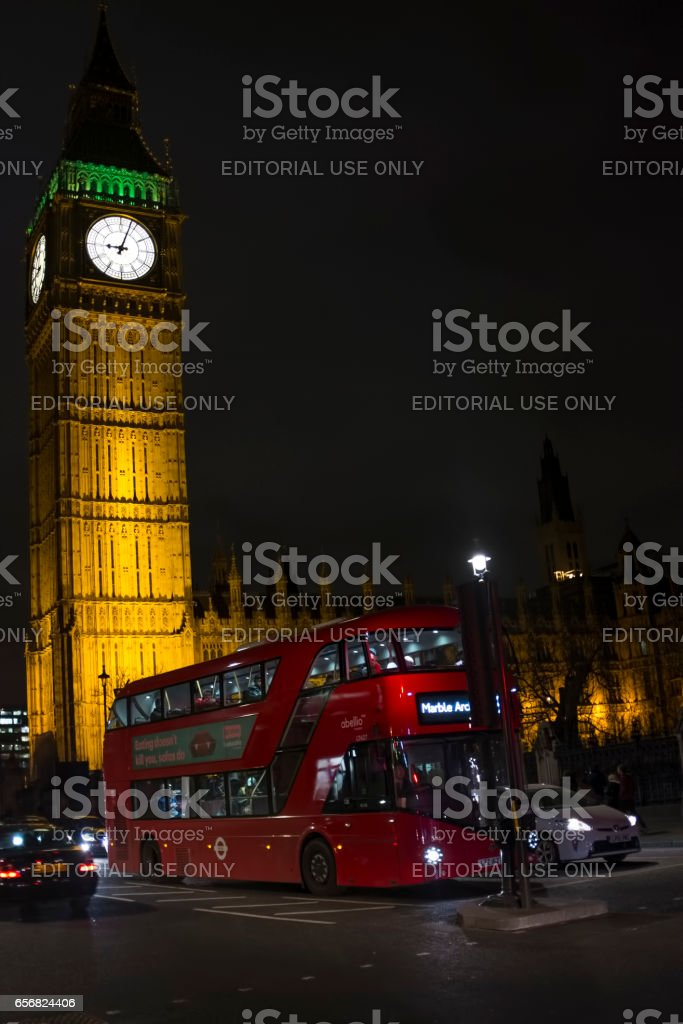 Big Ben, Westminster Bridge and red double decker bus in London stock photo