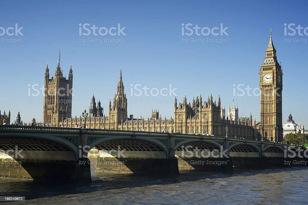 Big Ben Westminster Palace and Bridge River Thames London royalty-free stock photo