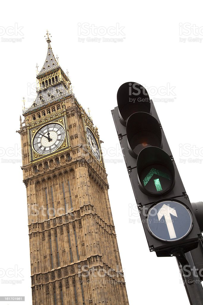 Big Ben with a green traffic light royalty-free stock photo