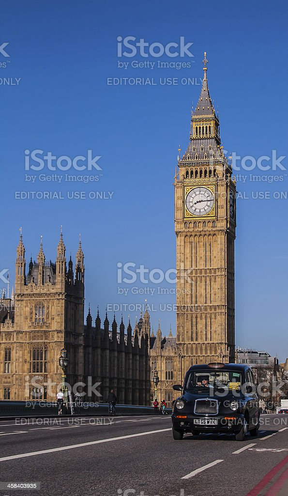 Big Ben with a taxi stock photo