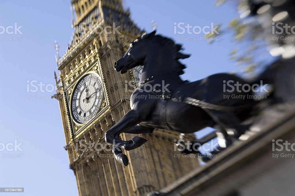 Big Ben with bronze horse monument London royalty-free stock photo